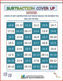 Subtraction Cover Up to 20 - this second grade math game will help you to subtract with numbers to 20