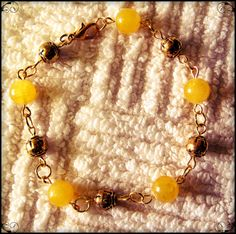 Beautiful Handmade Gold Bracelet with Yellow Jade by IreneDesign2011