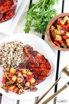 Grilled Pork Chops with Pineapple Relish