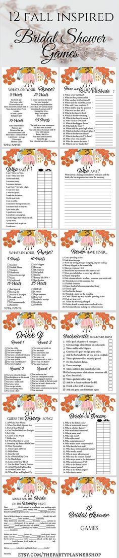 12 Autumn Bridal Shower Games, Printable Fall Bachelorette Party Game, Bridal Shower Game, Hens Night Game  This printable bachelorette party or bridal shower game set is the perfect way to have a great time. From simple games to drinking games everybody can find something to enjoy. These bachelorette party games will set a good mood and guarantee a few interesting moment.  ► WHATS INCLUDED  You will receive 4 PDF files with the following games:  ►1. Advice For The Bride On The Wedding Night