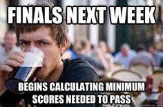 #FinalsWeek is coming, u calculate the minimum exam grade u can escape with, but realize ur totally cooked in one class, no matter what. #CollegeFunnies #FunnyFridays