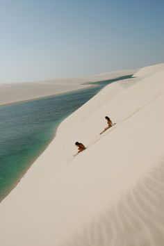 Lençóis Maranhenses, Brazil.....  One of the most marvelous, unique places in the world, the desert known as Lençóis Maranhenses is an area of about 300 square kilometers of blinding white dunes and turquoise lakes...what, water in the desert? Yes. It rains a lot for several months and each depression between dunes becomes a lake of crystal clear water...