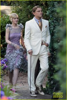 "The Great Gatsby Wardrobe | First Look: Carey Mulligan in costume on ""The Great Gatsby"" set with ..."