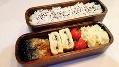 posted by @hiroko_13d 今日のお弁当おかかはさみご飯鯖の塩焼き玉子焼きポテトサラダ#お弁当...