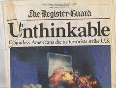 9 11 NY World Trade Center Terrorist Attack Register Guard Newspaper 9/12/01 September 12 2001 2