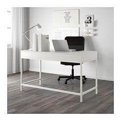 IKEA - ALEX, Bureau, grijs, , Snoeren en kabels onzichtbaar weggewerkt, maar toch binnen handbereik.Blokkeerstukken voorkomen dat de lades te ver worden uitgetrokken.De achterkant is helemaal afgewerkt, dus je kan dit meubel ook middenin de ruimte zetten.