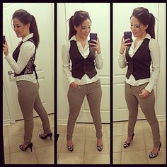 Outfit : Gilet : BCBG from Goodwill, White blouse : H Beige skinny pants : H Heels : Nine West from Sears