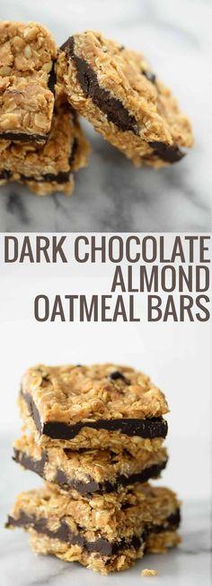 Vegan Dark Chocolate Almond Oatmeal Bars. You've gotta try these naturally sweetened oatmeal cookie bars, layered with dark chocolate almond butter. Vegan | #granolabars