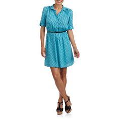49c6645a71ffa6 ONLINE - Women s Cuffed Sleeve Shirtdress with Belt - Walmart.com