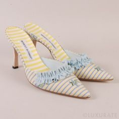 Manolo Blahnik Ruffle Embroidered Mules
