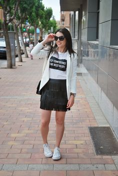 Fringed Skirt and Converse.
