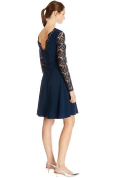 Dresses | Blue Lace Sleeved Skater Dress | Warehouse
