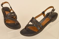 Born womens strappy slingback black leather toe wrap sandals Sz 7 38 Pre-owned #Born #Strappy #Casual