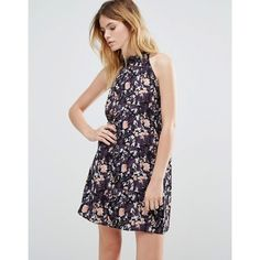 Native Youth Grunge Folk Floral High Neck Swing Dress (€38) ❤ liked on Polyvore featuring dresses, black, tent dress, halter top, high neck halter top, trapeze dresses and rayon dress