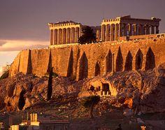 Athens, Greece, Europe: The Parthenon at dusk
