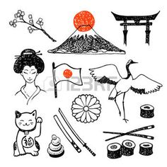 Set of elements of japanese culture hand collecting vector icons drawing and image bank Japanese Drawings, Japanese Prints, Bullet Journal Japan, Handpoke Tattoo, Line Art, Doodles, Japan Tattoo, Art Japonais, Travel Logo