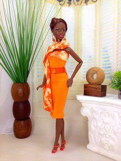 Barbie Doll Dress  Orange Dress with Tangerine by EnchantedStyles, $12.50