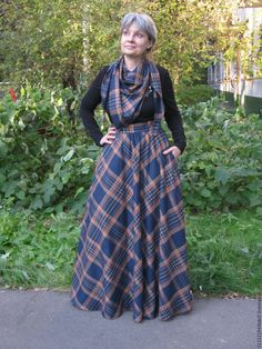 Купить Юбка в клетку комплект - осенняя юбка, юбка с шарфом, юбка с карманами, длинная юбка