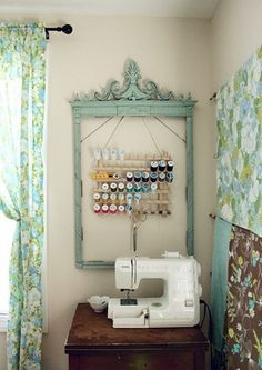Cute sewing stations in small spaces. Mine is in a corner like this on a similarly small desk.