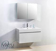 """39"""" Virtu Zuri JS-50339-GW Single Sink Bathroom Vanity - Gloss White #Virtu #HomeRemodel #BathroomRemodel #BlondyBathHome #BathroomVanity"""
