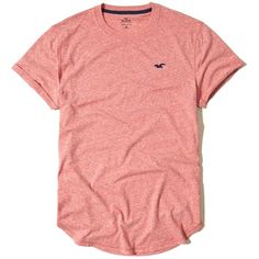 Hollister Must-Have Curved Hem T-Shirt ($15) ❤ liked on Polyvore featuring men's fashion, men's clothing, men's shirts, men's t-shirts, red, mens red shirt, j crew mens shirts, mens slim fit shirts, mens crew neck t shirts and mens slim shirts