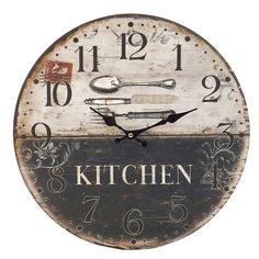 Este modelo de relógio Kitchen, é muito lindo. Simples e ao mesmo tempo com muito estilo, combina perfeitamente com a parede de qualquer cozinha. O acabamento simula o envelhecido, o que dá a ele um toque vintage, juntamente com os talheres estampados no fundo do relógio.