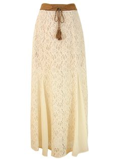 Flying Tomato boho sweet antique lace chiffon mix suede belt maxi skirt S, M #FlyingTomato #Maxi