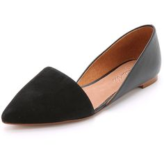 Madewell The Kendra d'Orsay Flats ($98) ❤ liked on Polyvore featuring shoes, flats, true black, black leather flats, flat shoes, black leather shoes, black pointy toe flats and madewell shoes