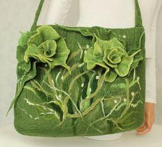 Green bag shoulder Bag felt Shoulder felted ❤ by ZiemskaArt, $147.00