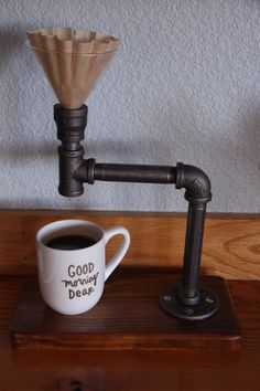 Industrial Pour Over // Coffee Maker // Reclaimed wood base //