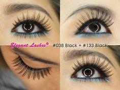 Elegant Lashes #038 Black False Eyelash + #133 Black Under/Bottom/Lower False Eyelash