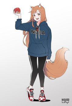 holo (spice and wolf) Anime Wolf Girl, Anime Art Girl, Manga Girl, Kawaii Anime, Kawaii Cute, Spice And Wolf Holo, Werewolf Girl, Anime Monsters, Fox Girl