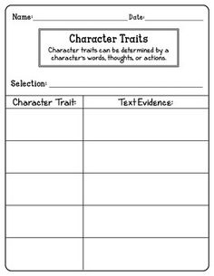 (Link goes to TpT but I can totally make this character traits sheet. -HB) Reading Response Notebook Toppers (and printables)