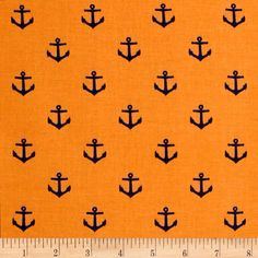 All Hands On Deck - Anchors Orange - Discount Designer Fabric - Fabric.com