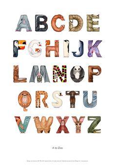 Jeanine Colini - A to zoo animal alphabet poster (het gaat om de vorm van de… Alphabet Design, Alphabet Art, Animal Alphabet, Spanish Alphabet, Preschool Alphabet, Alphabet Crafts, Lettering Styles, Hand Lettering, Zoo Logo