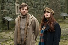 Sophie Skelton as Brianna Randall and Richard Rankin as Roger Wakefield in Season Two of Outlander on Starz