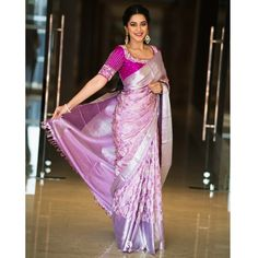 Buy Pastel Lavender Silk Saree with Silver Zari Mangoes This pashudh saree is in tender lavender sha Pattu Saree Blouse Designs, Blouse Designs Silk, Bridal Blouse Designs, Chiffon Saree, Silk Sarees, Saree Trends, Stylish Sarees, Blouse Models, Indian Sarees