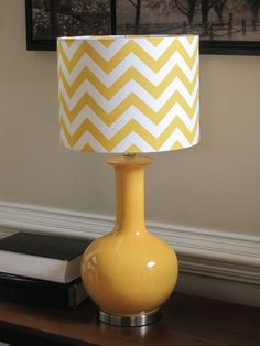 Lamp Shade Drum Lampshade Pendant Yellow Zigzag Chevron. $65.00, via Etsy.