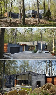 18 Modern House In The Forest // The contrast between the black brick and wood panels on this forest home make it stand out in the lush forest around it.