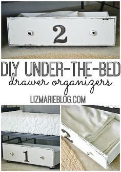 Under-bed storage DIY repurposed drawers on wheels. Under Bed Organization, Under Bed Storage, Home Organisation, Extra Storage, Organization Hacks, Old Drawers, Bed With Drawers, Dresser Drawers, Do It Yourself Furniture