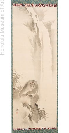 Mori Sosen (1747-1821) Monkey and Waterfall Japanese, Edo period (1615-1868), late 18th-early 19th century Hanging scroll; ink on paper