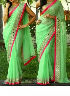 Fabfirki New Light Green Georgette Designer Party Wear Saree finest collection of Designer Bollywood Replica Saree. Modern day sarees are made in numerous styles and for numerous occasions. Mirror Work Saree, Mirror Work Blouse, Designer Sarees Wedding, Designer Gowns, Party Wear Lehenga, Lehenga Gown, Sari Dress, Frock Dress, Anarkali Dress
