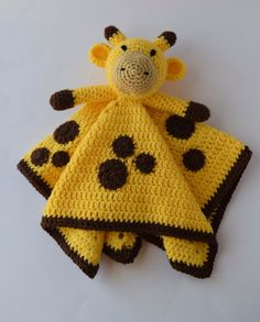 Crochet Giraffe Lovey/Security Blanket Baby or Toddler Crochet Giraffe Stuffed Animal Yellow and Brown Blanket With Spots ************************************************************************************  This sweet giraffe would be the perfect snuggling companion for a baby or toddler. If you need a gift for a shower, this one will definitely be the center of everyones attention. It will be cherished for many years to come. Made in a smoke free environment. Measurements: ~ Blanket is…