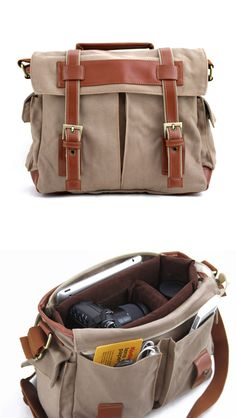 Canvas Camera Bag - with removable camera compartment