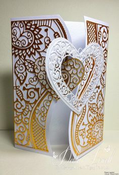Card by Debbi Powell [Tattered Lace Cherished Locket, Double Delights Adore] Fancy Fold Cards, Folded Cards, Love Valentines, Valentine Day Cards, Wedding Anniversary Cards, Wedding Cards, Tattered Lace Cards, Shaped Cards, Beautiful Handmade Cards