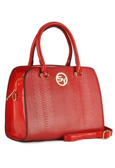 Red Embossed Snakeskin Grab / Shoulder Bag by Sally Young - from Bridget's Boutique