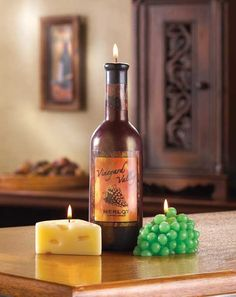 Our creative wine bottle candles and food candles are very decorative for any event.