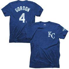 Alex Gordon Kansas City Royals Majestic Threads 2015 World Series Champions Tri-Blend Name & Number T-Shirt - Royal