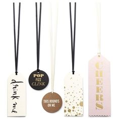 kate spade new york 'cheers' assorted wine bottle tags ($16) found on Polyvore featuring home, kitchen & dining, bar tools and kate spade