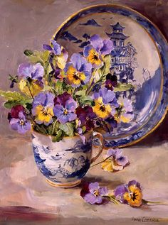 Pansies with Willow Pattern Plate - Blank or Birthday Card by Anne Cotterill Flower Art Arte Floral, Images D'art, Willow Pattern, Still Life Art, Fine Art, Pansies, Oeuvre D'art, Art Pictures, Flower Art